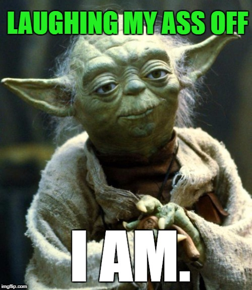 Star Wars Yoda Meme | LAUGHING MY ASS OFF I AM. | image tagged in memes,star wars yoda | made w/ Imgflip meme maker