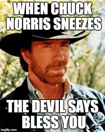 Chuck Norris Meme | WHEN CHUCK NORRIS SNEEZES THE DEVIL SAYS BLESS YOU | image tagged in memes,chuck norris | made w/ Imgflip meme maker