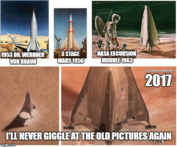 Stand Up Rocket Design for Mars Returns! | 1953DR. WERHNER VON BRAUN NASA EXCURSION MODULE 1963 2017 3 STAGE MARS 1956 I'LL NEVER GIGGLE AT THE OLD PICTURES AGAIN | image tagged in mars,rocket ship,classic design | made w/ Imgflip meme maker