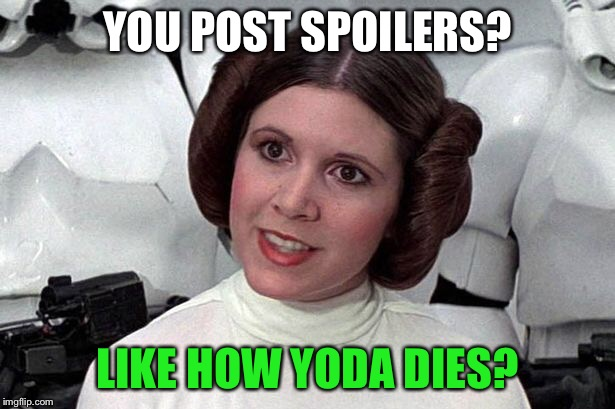 YOU POST SPOILERS? LIKE HOW YODA DIES? | made w/ Imgflip meme maker