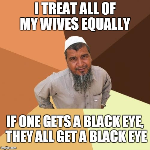 Muslims feminists since 1000 A.D | I TREAT ALL OF MY WIVES EQUALLY IF ONE GETS A BLACK EYE, THEY ALL GET A BLACK EYE | image tagged in memes,ordinary muslim man,feminism | made w/ Imgflip meme maker
