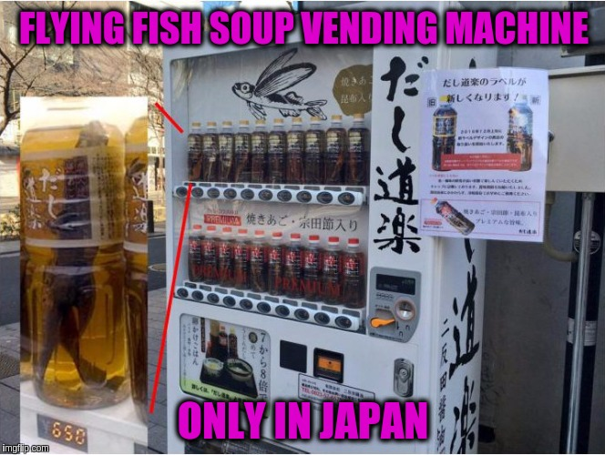 FLYING FISH SOUP VENDING MACHINE ONLY IN JAPAN | image tagged in memes,vending machine,funny,japan,flying fish soup,weird drinks | made w/ Imgflip meme maker