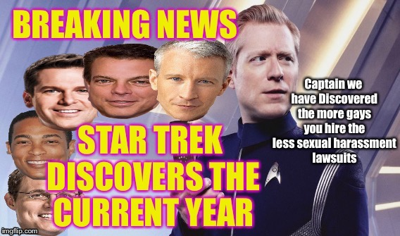 Star Trek Gay Token | Captain we have Discovered the more gays you hire the less sexual harassment lawsuits | image tagged in star trek current year,gay,lgbt,star trek,pride,lube | made w/ Imgflip meme maker
