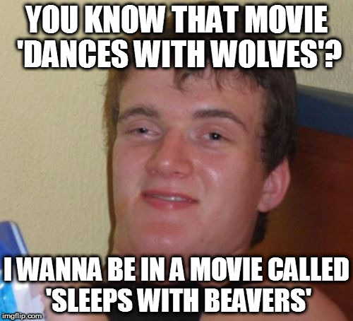 Sleeping & Dancing | YOU KNOW THAT MOVIE 'DANCES WITH WOLVES'? I WANNA BE IN A MOVIE CALLED 'SLEEPS WITH BEAVERS' | image tagged in memes,10 guy,homepage,beavers,wolves,movies | made w/ Imgflip meme maker