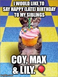 :) | I WOULD LIKE TO SAY HAPPY (LATE) BIRTHDAY TO MY SIBLINGS COY, MAX & LILY.  | image tagged in happy birthday cat,birthdays,siblings | made w/ Imgflip meme maker