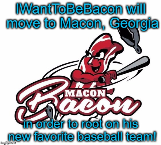 Go Bacon! | IWantToBeBacon will move to Macon, Georgia in order to root on his new favorite baseball team! | image tagged in macon bacon,iwanttobebacon,macon,georgia,baseball | made w/ Imgflip meme maker