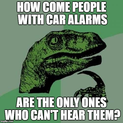 Philosoraptor Meme | HOW COME PEOPLE WITH CAR ALARMS ARE THE ONLY ONES WHO CAN'T HEAR THEM? | image tagged in memes,philosoraptor | made w/ Imgflip meme maker