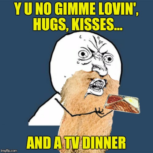Y U NO GIMME LOVIN', HUGS, KISSES... AND A TV DINNER | made w/ Imgflip meme maker