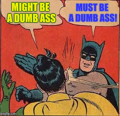 Batman Slapping Robin Meme | MIGHT BE A DUMB ASS MUST BE A DUMB ASS! | image tagged in memes,batman slapping robin | made w/ Imgflip meme maker