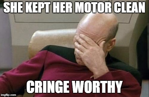 Captain Picard Facepalm Meme | SHE KEPT HER MOTOR CLEAN CRINGE WORTHY | image tagged in memes,captain picard facepalm | made w/ Imgflip meme maker