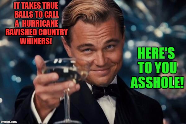 The Idjit Speaketh | IT TAKES TRUE BALLS TO CALL A  HURRICANE RAVISHED COUNTRY  WHINERS! HERE'S TO YOU ASSHOLE! | image tagged in memes,leonardo dicaprio cheers,donald trump | made w/ Imgflip meme maker