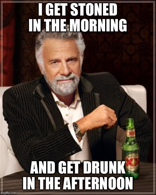The Most Interesting Man In The World | I GET STONED IN THE MORNING AND GET DRUNK IN THE AFTERNOON | image tagged in memes,the most interesting man in the world | made w/ Imgflip meme maker