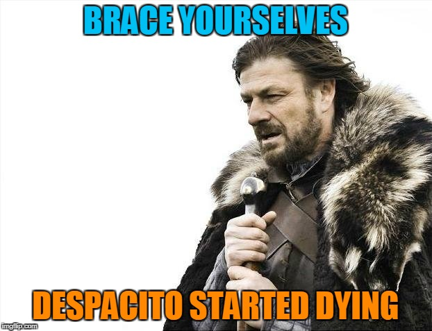 It doesn't seem to be everywhere anymore.Now we just have to wait for another brainless,overplayed pop song to restart the cycle | BRACE YOURSELVES DESPACITO STARTED DYING | image tagged in memes,brace yourselves x is coming,pop music,despacito,celebration,deja vu | made w/ Imgflip meme maker