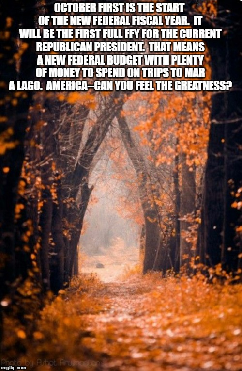 Autumn  | OCTOBER FIRST IS THE START OF THE NEW FEDERAL FISCAL YEAR.  IT WILL BE THE FIRST FULL FFY FOR THE CURRENT REPUBLICAN PRESIDENT.  THAT MEANS  | image tagged in autumn | made w/ Imgflip meme maker