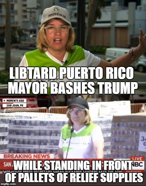 Liberalism is a mental disease | LIBTARD PUERTO RICO MAYOR BASHES TRUMP WHILE STANDING IN FRONT OF PALLETS OF RELIEF SUPPLIES | image tagged in donald trump,trump,memes,hurricane maria,liberal logic | made w/ Imgflip meme maker
