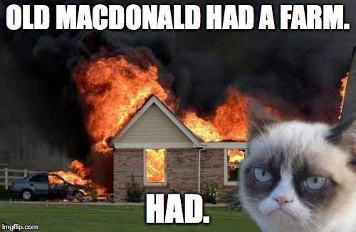 Burn Kitty Meme | OLD MACDONALD HAD A FARM. HAD. | image tagged in memes,burn kitty,grumpy cat | made w/ Imgflip meme maker