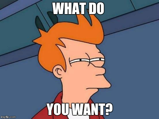 Futurama Fry Meme | WHAT DO YOU WANT? | image tagged in memes,futurama fry | made w/ Imgflip meme maker