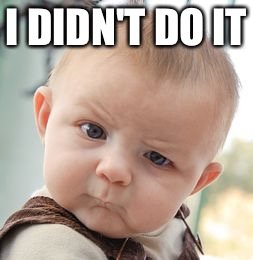 Skeptical Baby Meme | I DIDN'T DO IT | image tagged in memes,skeptical baby | made w/ Imgflip meme maker