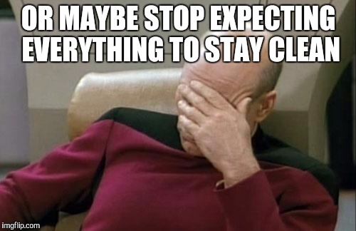 Captain Picard Facepalm Meme | OR MAYBE STOP EXPECTING EVERYTHING TO STAY CLEAN | image tagged in memes,captain picard facepalm | made w/ Imgflip meme maker