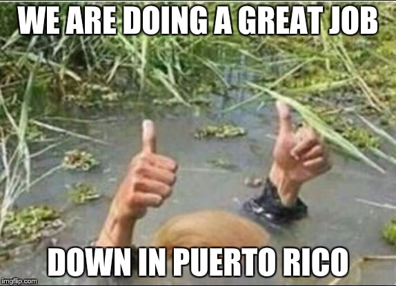 Trump Swamp Creature | WE ARE DOING A GREAT JOB DOWN IN PUERTO RICO | image tagged in trump swamp creature | made w/ Imgflip meme maker