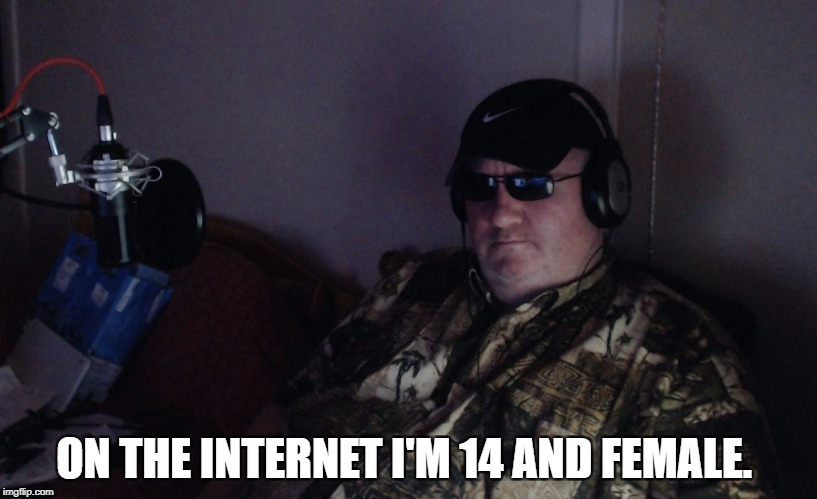 its a trap! | ON THE INTERNET I'M 14 AND FEMALE. | image tagged in pcmr internet trap | made w/ Imgflip meme maker