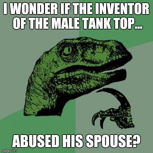Is that how it got the name Wife Beater? | I WONDER IF THE INVENTOR OF THE MALE TANK TOP... ABUSED HIS SPOUSE? | image tagged in memes,philosoraptor | made w/ Imgflip meme maker