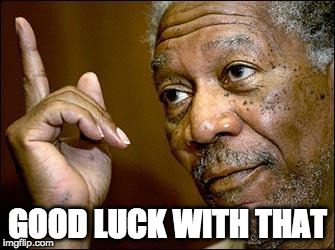 This Morgan Freeman | GOOD LUCK WITH THAT | image tagged in this morgan freeman | made w/ Imgflip meme maker