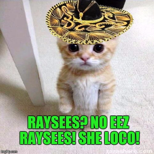 RAYSEES? NO EEZ RAYSEES! SHE LOCO! | made w/ Imgflip meme maker