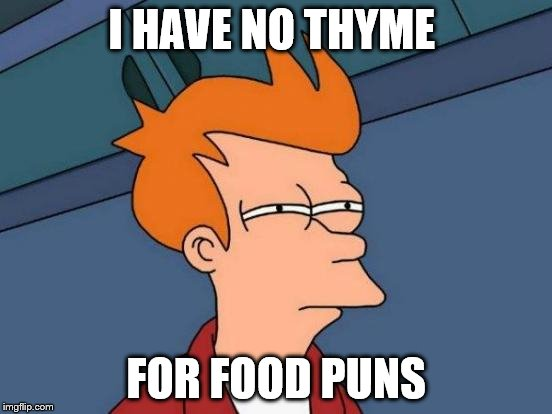 Futurama Fry Meme | I HAVE NO THYME FOR FOOD PUNS | image tagged in memes,futurama fry | made w/ Imgflip meme maker