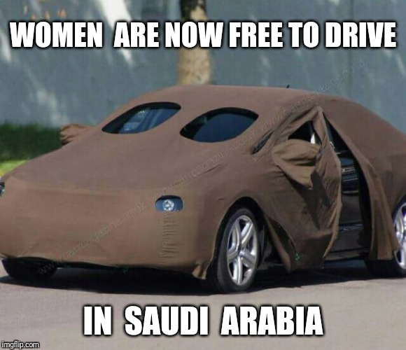 Burkamobile.  Volkswagen Karmenn Shia. | WOMEN  ARE NOW FREE TO DRIVE IN  SAUDI  ARABIA | image tagged in saudi arabia,burka,woman driver,volkswagen | made w/ Imgflip meme maker