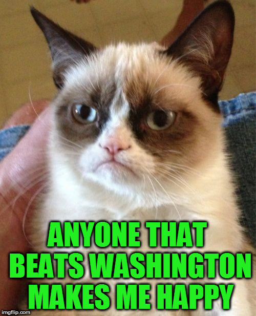 Grumpy Cat Meme | ANYONE THAT BEATS WASHINGTON MAKES ME HAPPY | image tagged in memes,grumpy cat | made w/ Imgflip meme maker