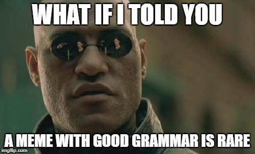 Matrix Morpheus Meme | WHAT IF I TOLD YOU A MEME WITH GOOD GRAMMAR IS RARE | image tagged in memes,matrix morpheus | made w/ Imgflip meme maker
