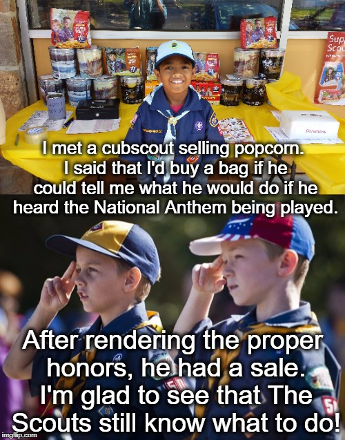 Now, if college educated millionaire athletes could only figure it out... |  I met a cubscout selling popcorn. I said that I'd buy a bag if he could tell me what he would do if he heard the National Anthem being played. After rendering the proper honors, he had a sale. I'm glad to see that The Scouts still know what to do! | image tagged in cub scouts,national anthem,take a knee,respect,honor,popcorn | made w/ Imgflip meme maker