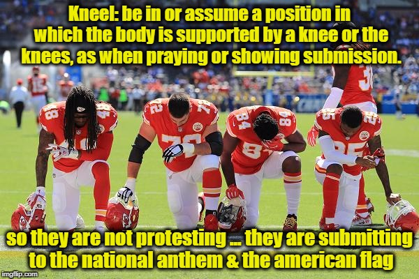 Take a knee | Kneel: be in or assume a position in which the body is supported by a knee or the knees, as when praying or showing submission. so they are  | image tagged in take a knee,nfl,football,terrorists,democrats,liberals | made w/ Imgflip meme maker