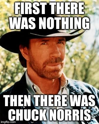 And that's how we started  | FIRST THERE WAS NOTHING THEN THERE WAS CHUCK NORRIS | image tagged in memes,chuck norris | made w/ Imgflip meme maker