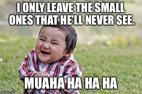 Evil Toddler Meme | I ONLY LEAVE THE SMALL ONES THAT HE'LL NEVER SEE. MUAHA HA HA HA | image tagged in memes,evil toddler | made w/ Imgflip meme maker