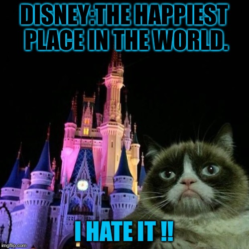 Grumpy cat Disney  | DISNEY:THE HAPPIEST PLACE IN THE WORLD. I HATE IT !! | image tagged in grumpy cat disney | made w/ Imgflip meme maker