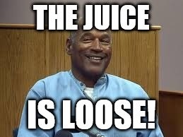 THE JUICE IS LOOSE! | image tagged in the juice is loose,oj simpson,oj simpson smiling,happy oj simpson | made w/ Imgflip meme maker