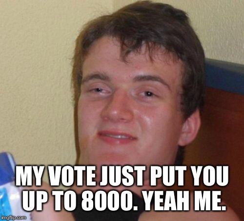 10 Guy Meme | MY VOTE JUST PUT YOU UP TO 8000. YEAH ME. | image tagged in memes,10 guy | made w/ Imgflip meme maker