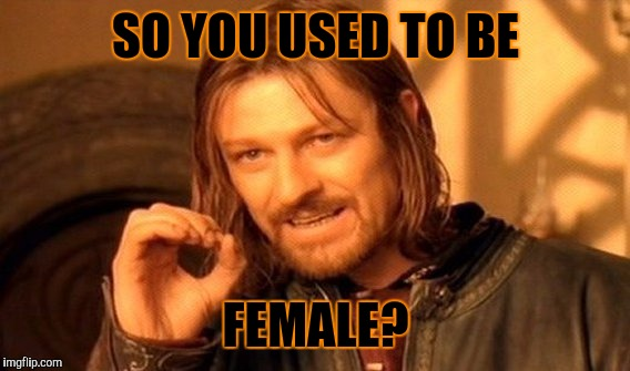 One Does Not Simply Meme | SO YOU USED TO BE FEMALE? | image tagged in memes,one does not simply | made w/ Imgflip meme maker