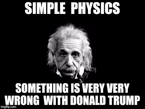 Albert Einstein 1 Meme | SIMPLE  PHYSICS SOMETHING IS VERY VERY WRONG  WITH DONALD TRUMP | image tagged in memes,albert einstein 1 | made w/ Imgflip meme maker