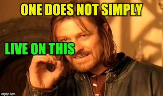 One Does Not Simply Meme | ONE DOES NOT SIMPLY LIVE ON THIS | image tagged in memes,one does not simply | made w/ Imgflip meme maker