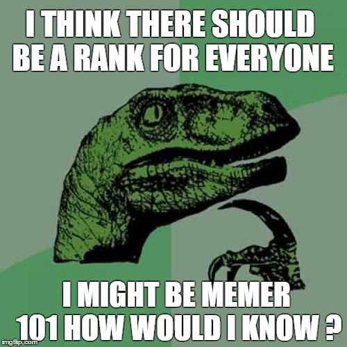 Philosoraptor Meme | I THINK THERE SHOULD BE A RANK FOR EVERYONE I MIGHT BE MEMER 101 HOW WOULD I KNOW ? | image tagged in memes,philosoraptor,question | made w/ Imgflip meme maker