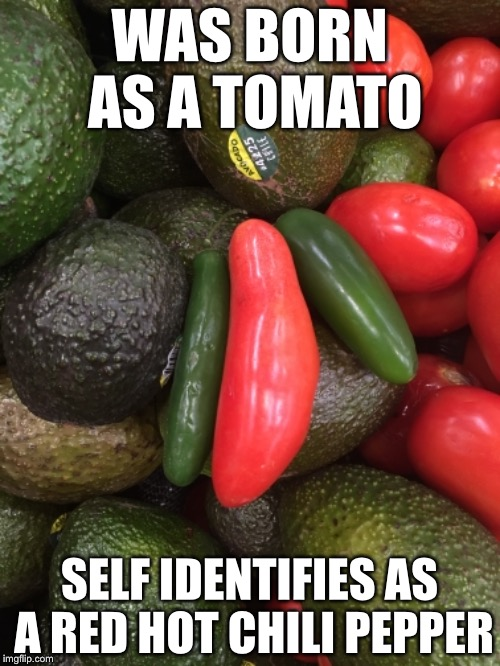 Confused Tomato |  WAS BORN AS A TOMATO; SELF IDENTIFIES AS A RED HOT CHILI PEPPER | image tagged in confused tomato,memes,funny,transgender,gender identity | made w/ Imgflip meme maker