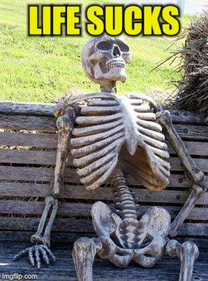 Waiting Skeleton Meme | LIFE SUCKS | image tagged in memes,waiting skeleton | made w/ Imgflip meme maker