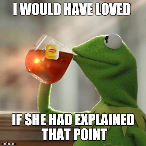 But Thats None Of My Business Meme | I WOULD HAVE LOVED IF SHE HAD EXPLAINED THAT POINT | image tagged in memes,but thats none of my business,kermit the frog | made w/ Imgflip meme maker