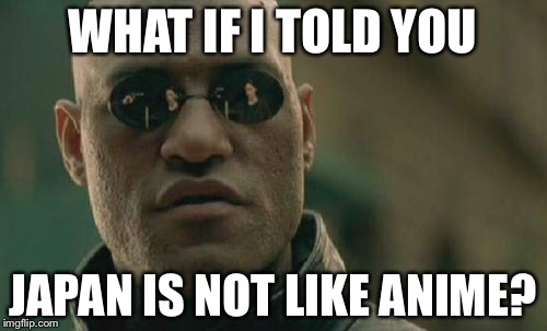 It's true! | WHAT IF I TOLD YOU JAPAN IS NOT LIKE ANIME? | image tagged in memes,matrix morpheus,japan,anime,reality | made w/ Imgflip meme maker