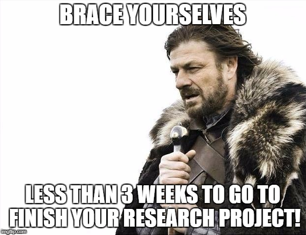 Brace Yourselves X is Coming Meme | BRACE YOURSELVES LESS THAN 3 WEEKS TO GO TO FINISH YOUR RESEARCH PROJECT! | image tagged in memes,brace yourselves x is coming | made w/ Imgflip meme maker