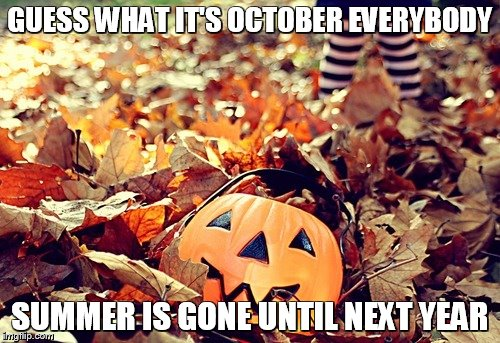 october | GUESS WHAT IT'S OCTOBER EVERYBODY SUMMER IS GONE UNTIL NEXT YEAR | image tagged in october | made w/ Imgflip meme maker