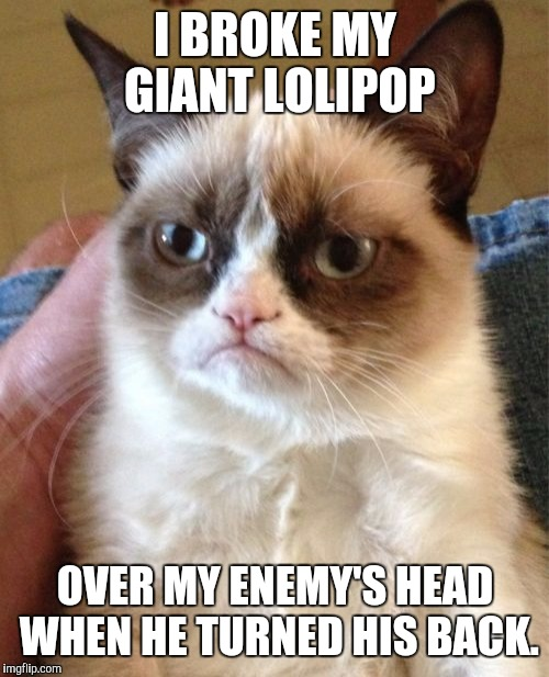 Grumpy Cat Meme | I BROKE MY GIANT LOLIPOP OVER MY ENEMY'S HEAD WHEN HE TURNED HIS BACK. | image tagged in memes,grumpy cat | made w/ Imgflip meme maker